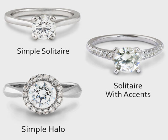 Simple solitaire accent stones and halo rings