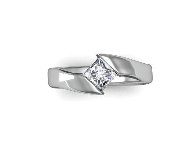 Offset Modern Princess Cut Solitaire Arden Jewelers