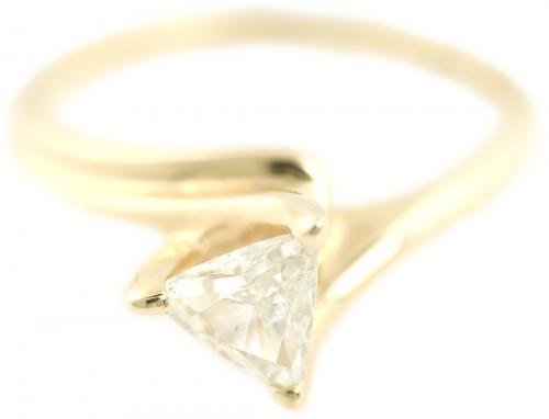 Trillion Cut Diamond Solitaire in Yellow Gold