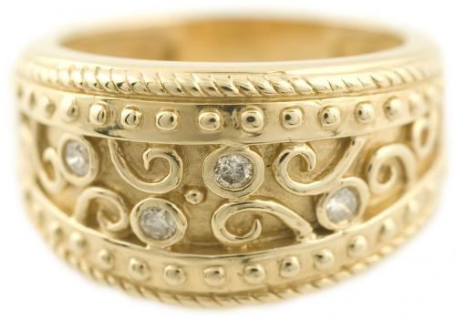 Filigree and Diamond Fashion Ring with Wide Band