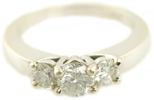 Three Stone Round Brilliant Diamond Ring in White Gold