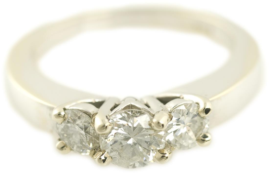 Three Stone Round Brilliant Diamond Ring in White Gold