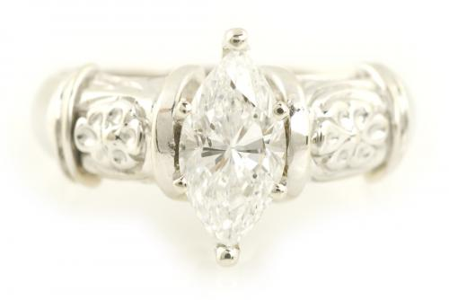 Marquise Solitaire Engagement Ring with Wide Filigree Band