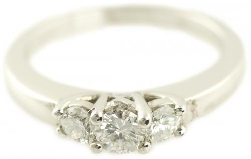 Three Stone Round Brilliant Diamond Engagement Ring