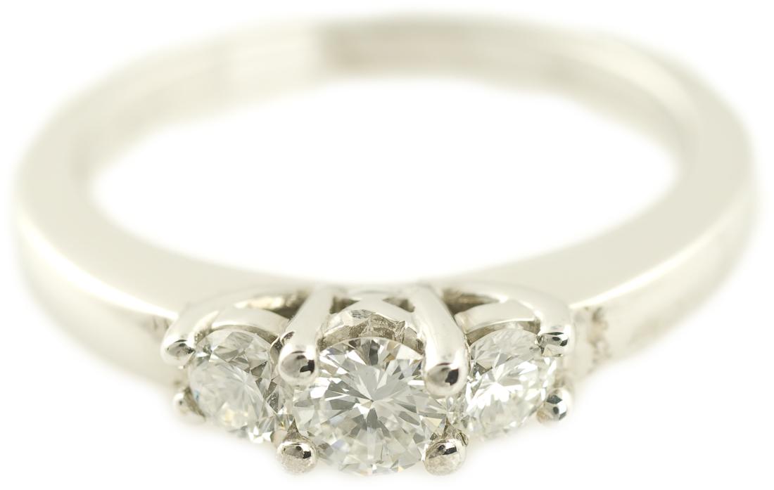 Three Stone Round Brilliant Diamond Engagement Ring