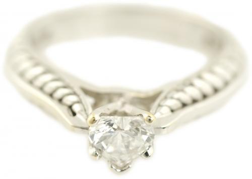 Heart Cut Diamond Solitaire with Fern Leaf Filigree