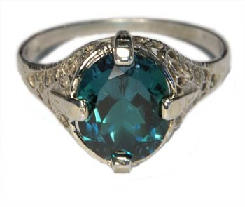 Victorian Filigree Ring Emerald