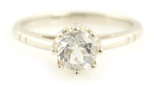 White Topaz Cathedral Ring