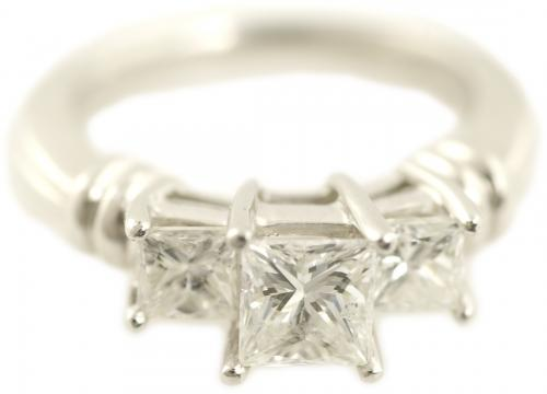 Three Stone Princess Cut Ring in Platinum with Bar Accents