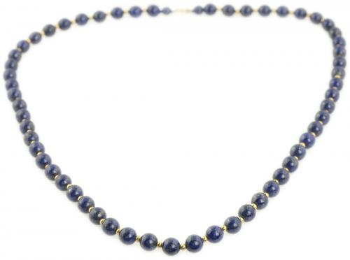 Lapis Lazuli and Yellow Gold Bead Necklace