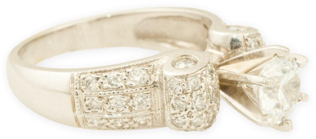 Bead Set Diamond Ring with Elegant Scroll Design