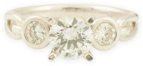Three Stone Engagement Ring with Bezel Set Diamonds