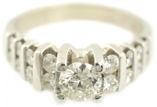Round Brilliant Engagement Ring with Channel Set Diamonds
