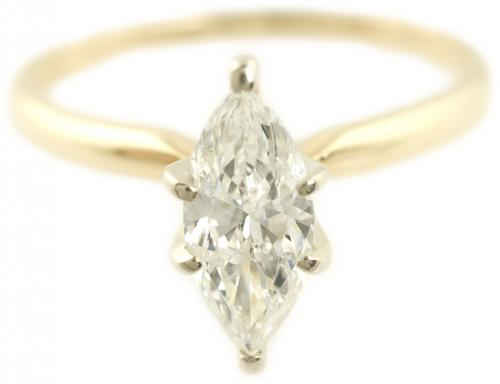 Marquise Cut Diamond Solitaire in Yellow Gold