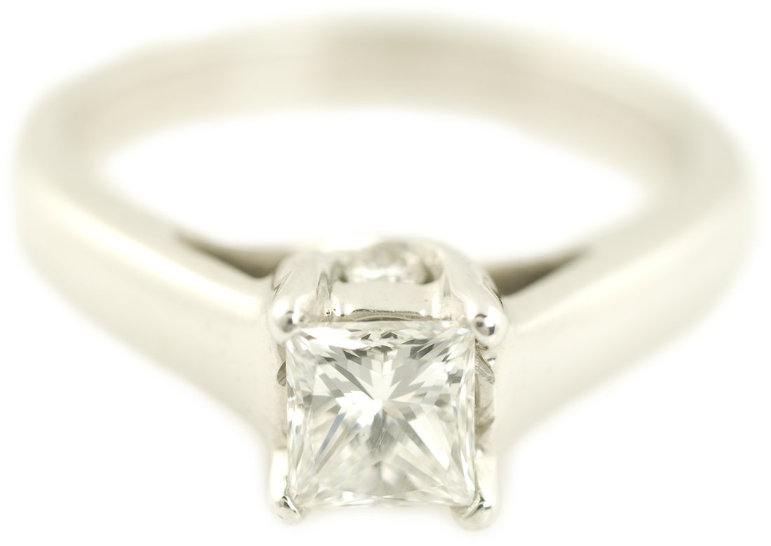 Princess Cut Trellis Cathedral Solitaire Engagement Ring
