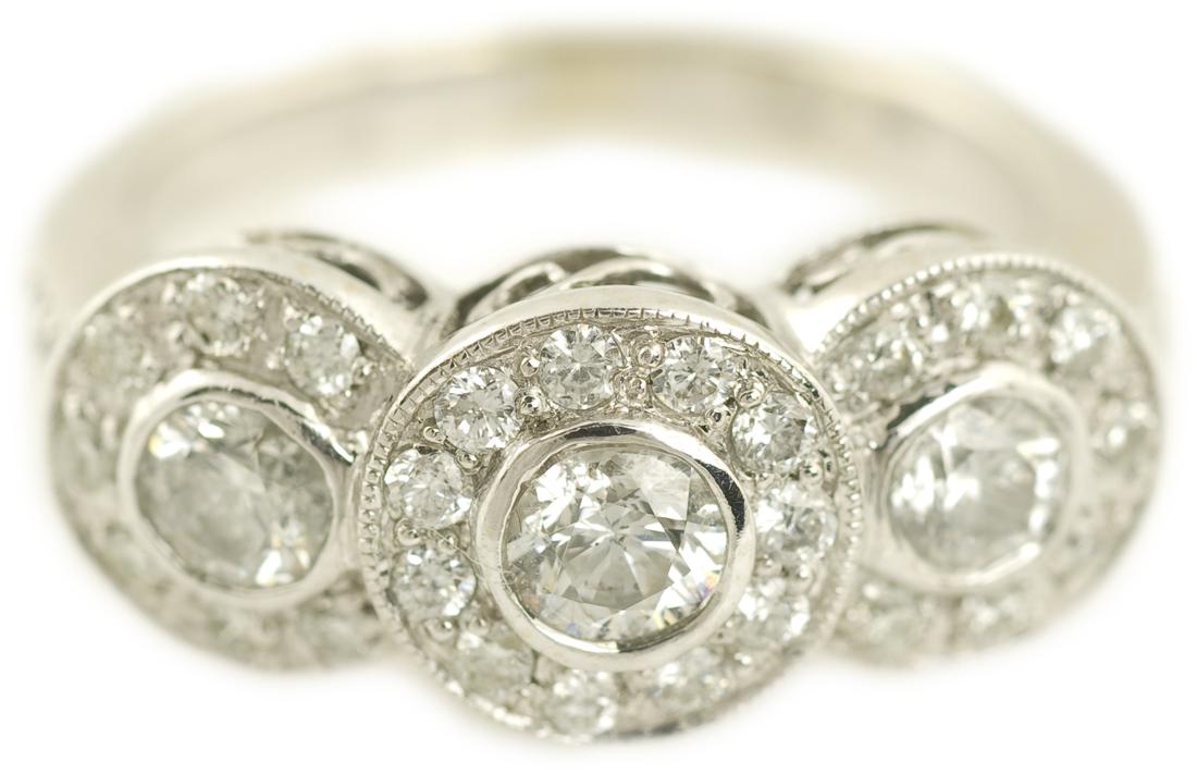 Bezel Set Three Stone Halo Diamond Engagement Ring