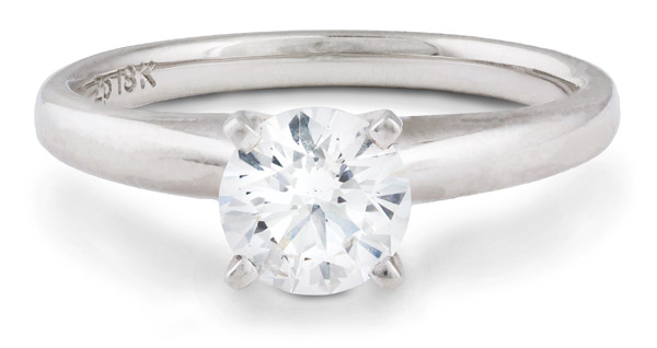 Round Brilliant Cut Solitaire Engagement Ring in White Gold