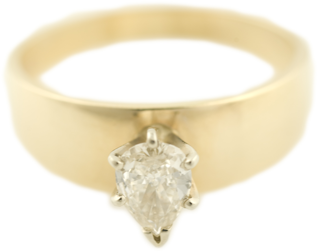 Pear Cut Diamond Solitaire with Wide Yellow Gold Band