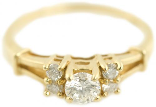Diamond Ring with Split Shank in Yellow Gold
