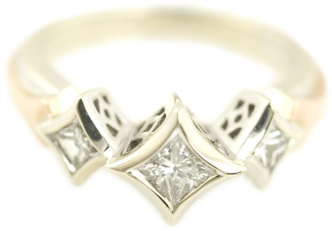Diamond Bezel Princess Cut Ring with Diamond Shaped Filigree