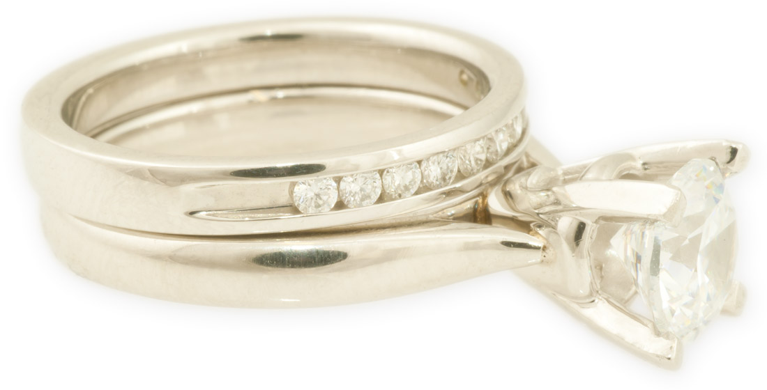 channel wedding bands classic cathedral solitaire and channel set diamond wedding band