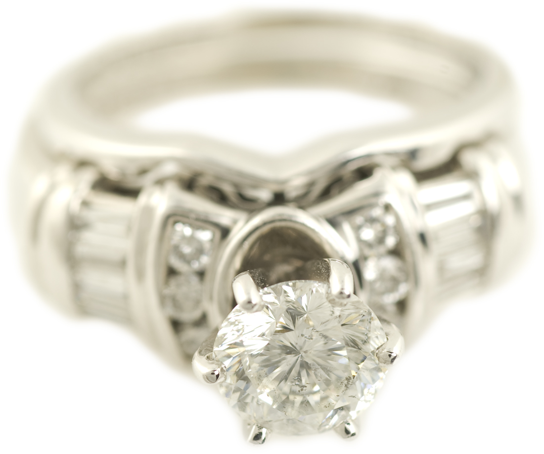 Round Brilliant Diamond Wedding Set with Baguettes and Bar Accents