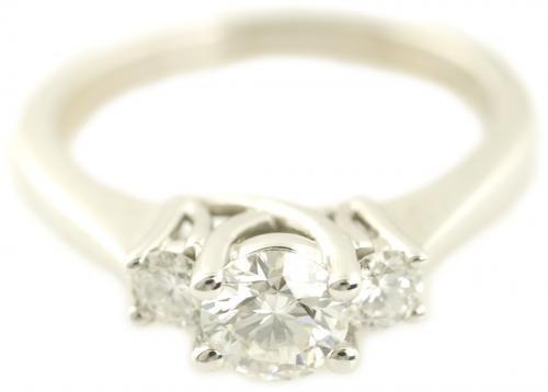 Three Stone Diamond Trellis Engagement Ring in White Gold