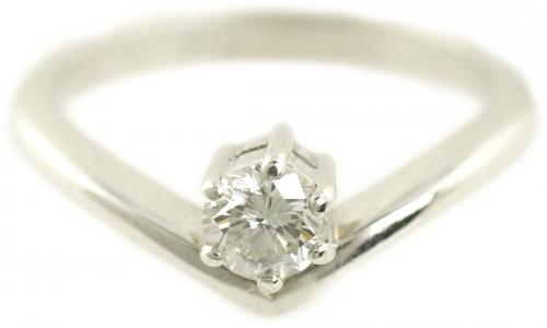 Floating Diamond Solitaire Ring in White Gold