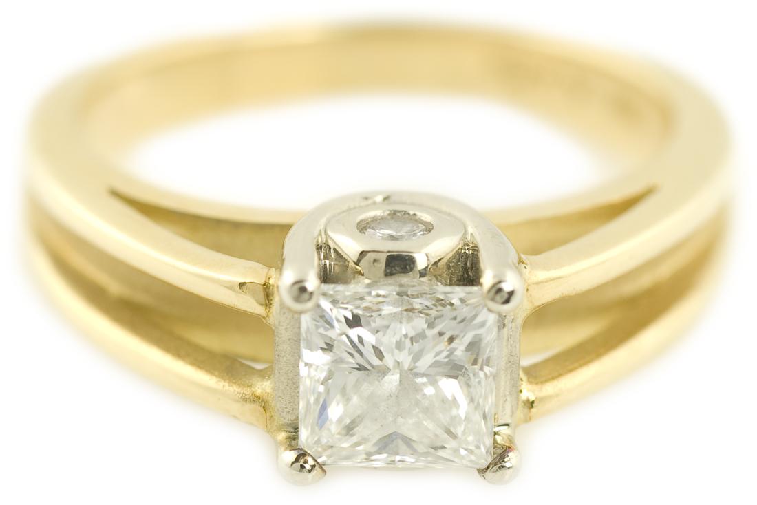 A. Jaffe : Princess Cut Diamond Split Shank Cathedral Solitaire