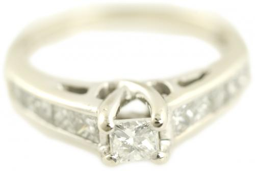 Cathedral Channel Set Princess Cut Diamond Engagement Ring