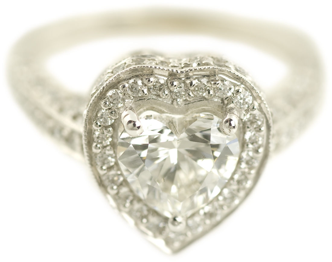 Heart Cut Diamond Halo Engagement Ring