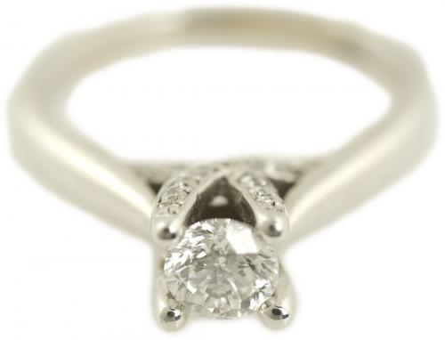 Round Diamond Cathedral Trellis Engagement Ring