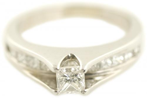 Channel Set Diamond Bridge Engagement Ring