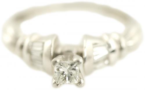 Princess Cut and Baguette Ring with Double Bar Accents