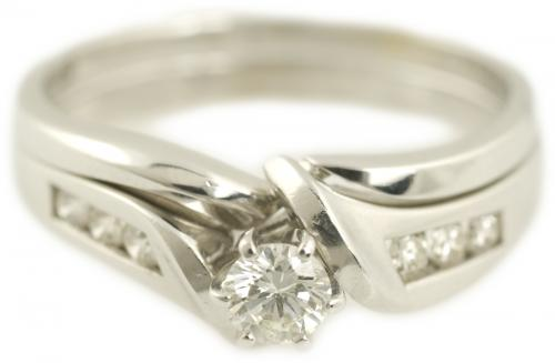 Diamond Wedding Set with Twisted Channel Set Band