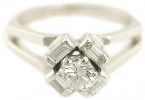 Round Brilliant Diamond Ring with Baguette Halo and Split Shank