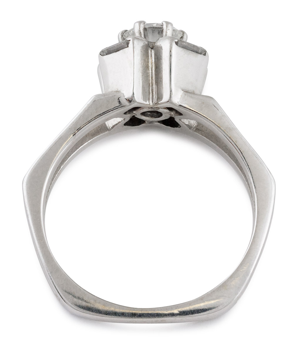 Round Brilliant Diamond Split Shank Ring with Baguette Halo - Top