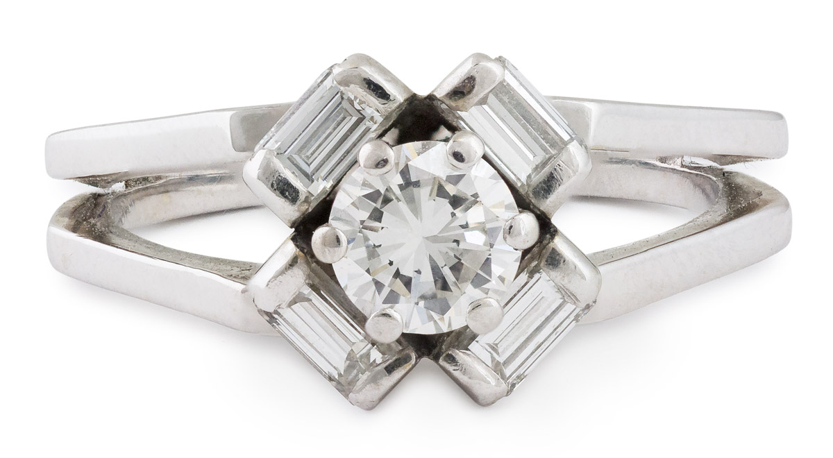 Round Brilliant Diamond Split Shank Ring with Baguette Halo