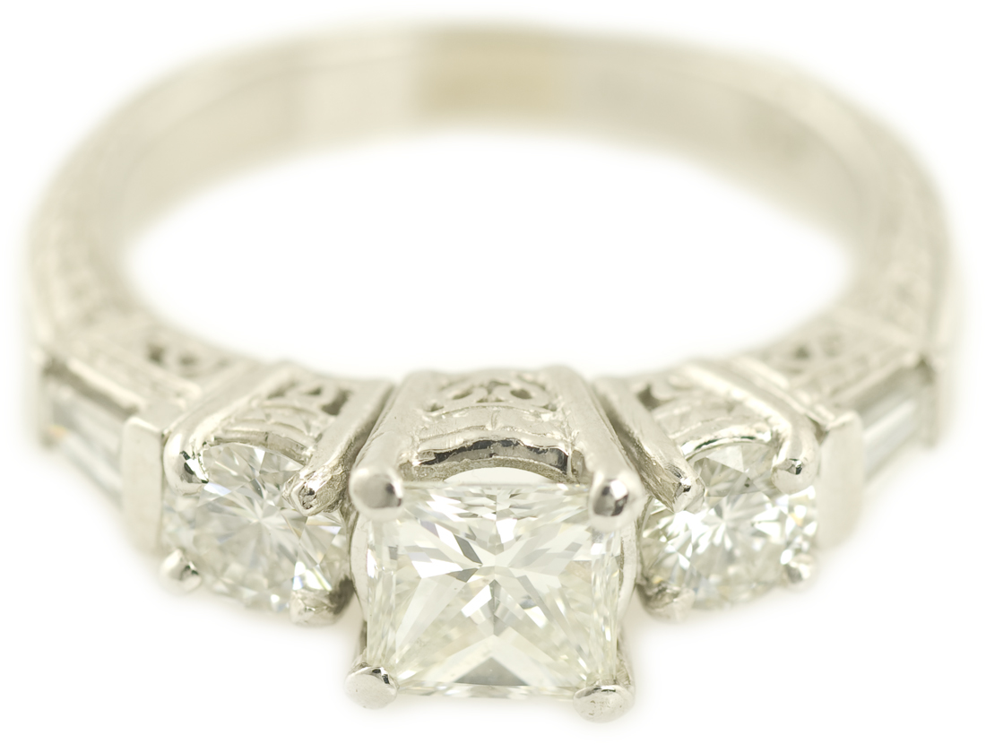 Hand Engraved Art Deco Style Diamond Engagment Ring