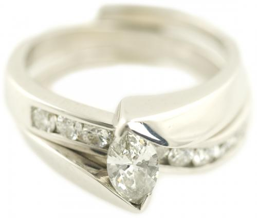 Offset Marquise Cut Diamond Wedding Set with Pass Through Band