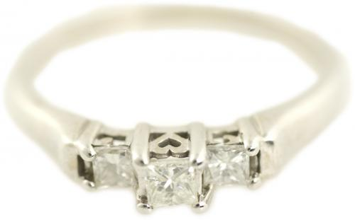 Three Stone Diamond Promise Ring in White Gold