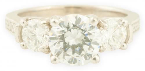 Three Stone Diamond Setting with Bead Set Diamond Accents