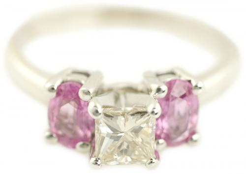 Three Stone Princess Cut Diamond and Pink Sapphire Ring