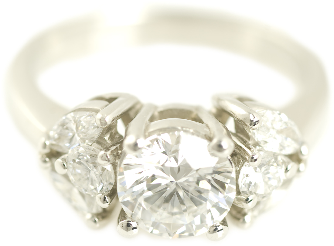 Round Brilliant Diamond Ring with Floral Marquise Accents