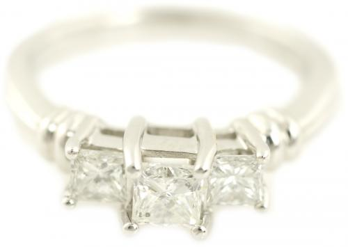 Three Stone Princess Cut Diamond Engagement Ring with Bar Accents