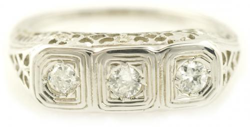 Antique Filigree Three Stone Diamond Ring