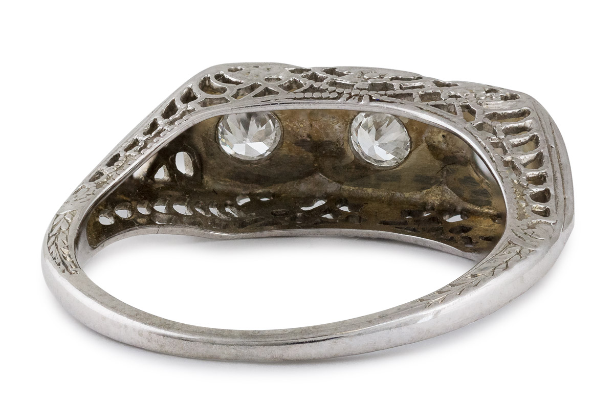 Antique Filigree Three Stone Diamond Ring - Back