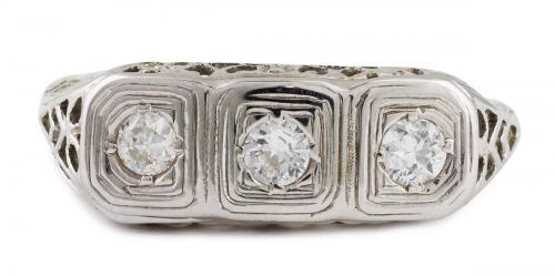 Antique Filigree Three Stone Diamond Ring