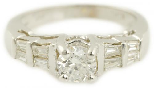 Old European Diamond Ring with Baguette Accents
