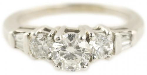 Three Stone Diamond Ring with Baguettes and Bar Accents